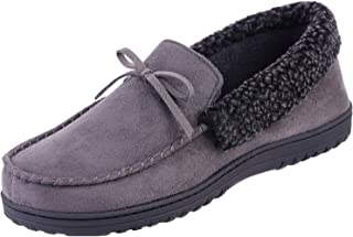 HomeIdeas Men's Faux Fur Lined Suede House Slippers, Indoor Outdoor Moccasins with Arch Support
