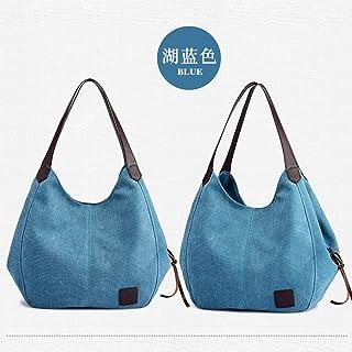 Wultia - Bags for Women 2019 Women's Classic Retro Canvas Handbags Vintage High Quality Female Hobos Single Shoulder Bags Bolsa Feminina Blue