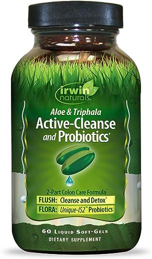 Irwin Naturals Aloe & Triphala Active Cleanse + Probiotics Natural Digestive Support - Gentle, Effective Detox + Elimination 2-Part Colon Care - Nourish + Balance - 60 Liquid Softgels