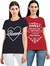 CHOZI Women's Printed Cotton Tshirt Round Neck Short Sleeve T-Shirt for Women- Black and Red (Pack of 2)