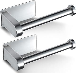 ZUNTO Lot de 2 porte-papier toilette auto-adhésif – Porte-rouleau de papier toilette sans perçage – Acier inoxydable