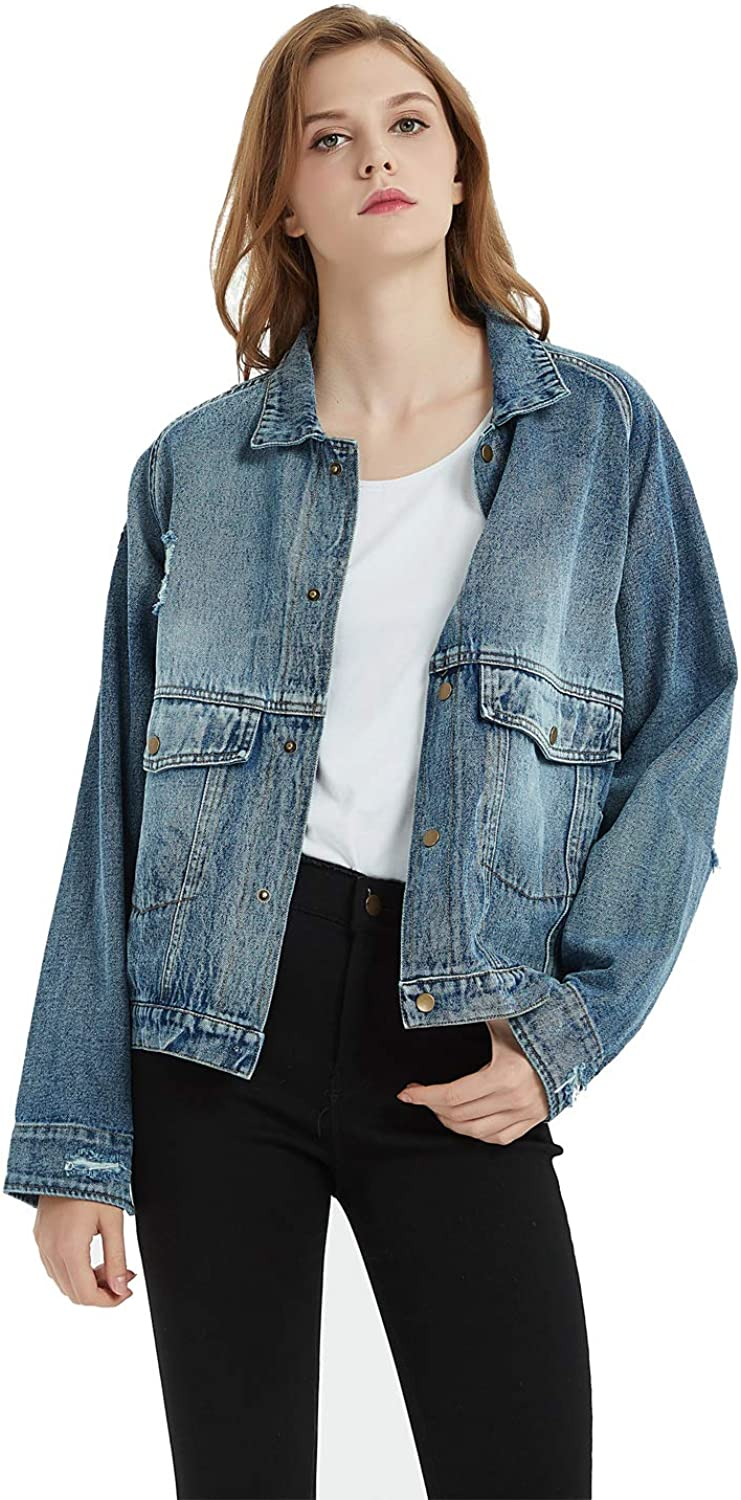 Tronjori Womens Oversize Distressed Ripped Denim Washed Jacket with Applique Embroidery