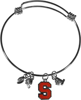 Swamp Fox Arkansas Razorbacks Metal Charm Bracelet Adjustable 7 to 9 with Round Rhinestone Charm