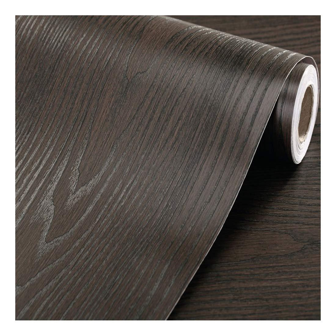 Fantasnight Sticky Back Plastic Black Wood Grain Paper Self Adhesive Vinyl Roll