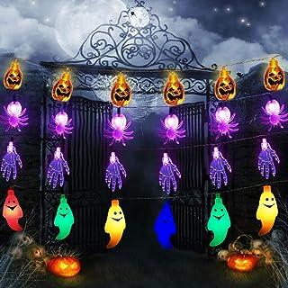Halloween String Lights, Set of 4 Halloween Lights 20 LEDs Purple Skeleton Hands, Ghost, Spider,Orange Pumpkin Battery Operated String Lights for Halloween Decorations Outdoor Indoor Garden Yard