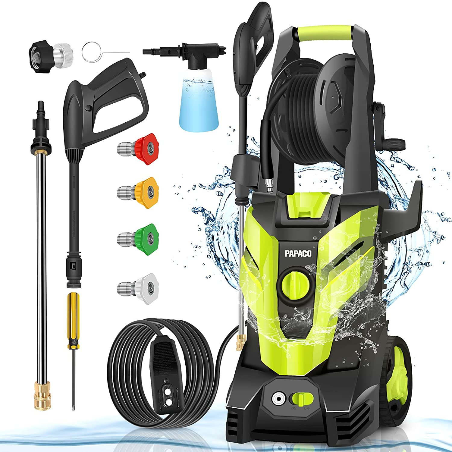 Papaco Electric Pressure Washer Same day shipping Max 3600 2.4 GPM PSI Our shop most popular Elec 1800W