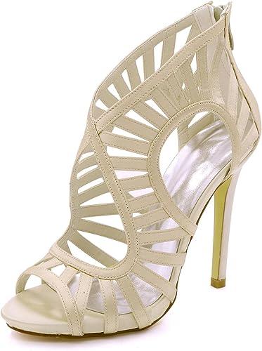 L@YC Sandalias de la Boda de Las mujeres Open Toe High Heel 7216-03 Cremallera Prom 3-8 Court zapatos