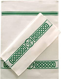 Samuel Lamont Group Charles Gallen White Waffle Tea Towels with Green Celtic Border - Set of 2