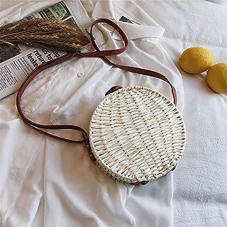 GSERA Runde Damen Umhängetasche Handgefertigte Strohsäcke Strandtasche Bohemia Weave Handtasche Female Messenger Umhängeta...