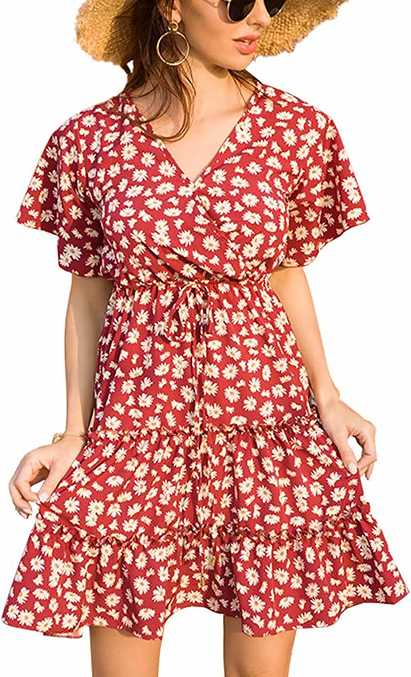 Women's Summer Wrap V Neck Floral Dresses Short Sleeve Ruffle Swing A Line Beach Mini Dress