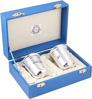 Msa Jewels Presents Pure 92.5 Silver Glass Set with BIS Hallmark (6 cm * 8 cm, 90 Grams)
