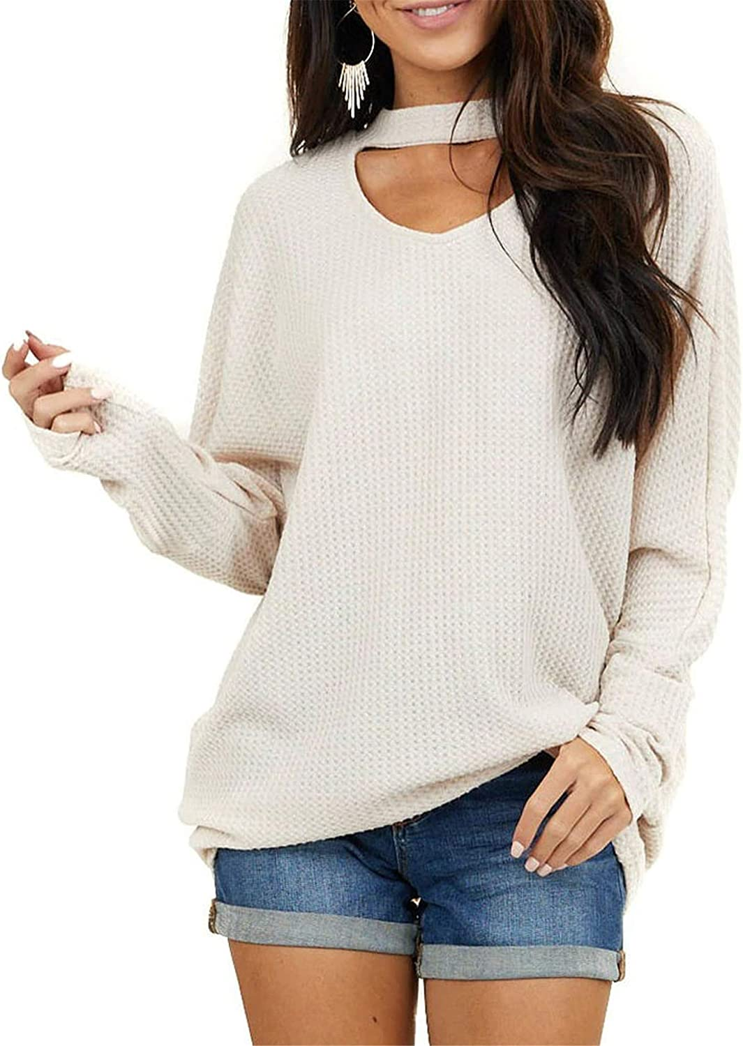 VICHYIE Women's Plus Size Long Waffle Knit Discount mail order Sleeves Tunic sale Sweater