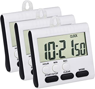 Mudder 3 Pack 24 Hours Magnetic Kitchen Timers with Digital Alarm Clock Timer, Loud Alarm and Big Screen (Black)