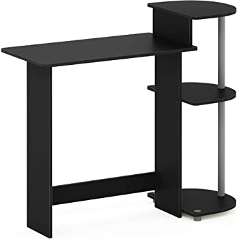 FURINNO Compact Computer Desk with Shelves, Round Side, Black/Grey