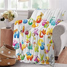 Luoiaax Educational Rugged or Durable Camping Blanket Cheerful Cartoon Fun Alphabet Design for Kids Cute Font Preschool Kindergarten Warm and Washable W57 x L74 Inch Multicolor