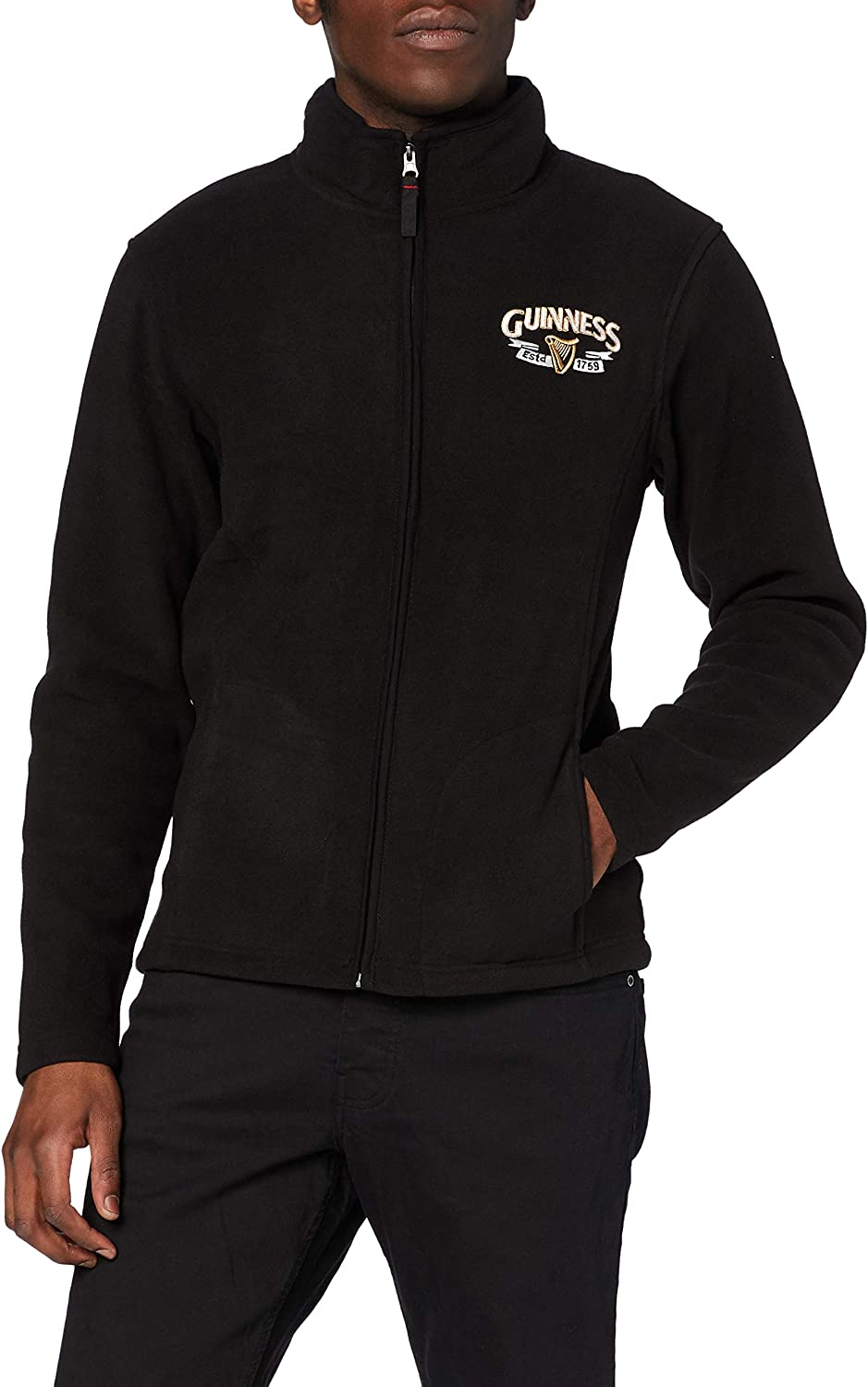 Guinness Full Zip-Up Fleece Jacket Large-scale sale Black Print Safety and trust Logo Colour