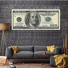 Terilizi grote versie 100 Dollar Bill Nordic Canvas Art Print Posters Wall Pictures for Living Room Office Home Decor-60 x 140 cm zonder lijst