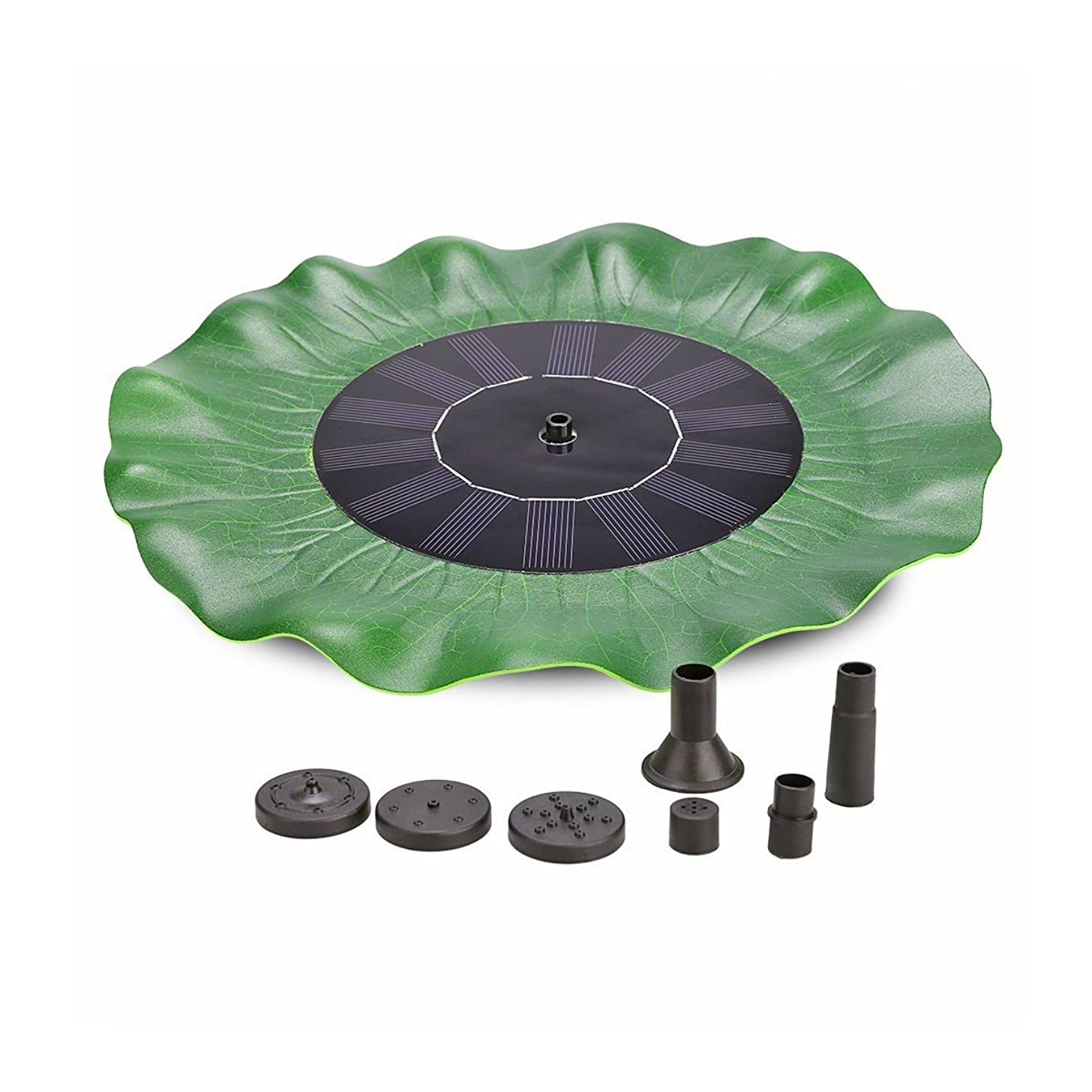CATNOCT Solar Energy Panel Green Lotus Leaf Pools Decorative Fountain with Micro Brushless Water Pump Submersible for Ponds Fountain Pool Garden 8V 1.4W 200L/h Lift 20in