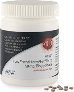 ABBLO Hierro Bisglycinato 50 mg. / Hierro Amino Acids 50 mg. 1 comprimido al día es suficiente (100 comprimidos)