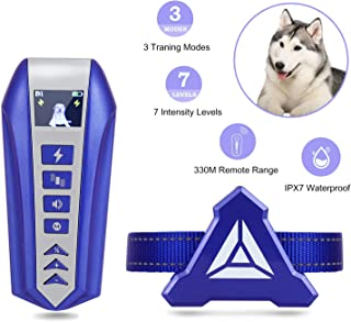 Zeonetak Dog Training Collar, 3 Effective Modes Beep Vibration Static Stimulation, Stop Barking Collar for Dogs Small Medium Large, Rechargeable Waterproof Adjustable Straps,330M Remote Control Range