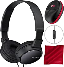 Sony MDRZX110AP ZX Series Extra Bass Smartphone Headset with Mic (Black) and Xpix Protective Case Bundle