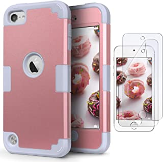 iPod Touch 7 Armor Case with 2 Screen Protectors, IDweel 3 in 1 Hard PC Case + Silicone Shockproof for Kids Heavy Duty Hard Case Cover for 2019 iPod Touch 7th/6th/5th Generation, Rose Gold + Gray