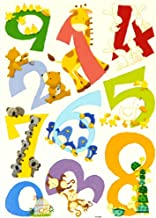LARGE 0 to 9 CARTOON ANIMAL NUMBERS 123 WALL STICKERS : Peel, Apply & Reuse : Top Quality Educational Kids Birthday Or Christmas Present - Teach Your Child Each Number, Count The Animals & Name The Colours - Best Selling Baby & Childs Gift Idea! 1 BACKING SHEET - SIZE 50 x 70cm. Eg Sticker Size (No. 6) - 22.5cm x 19cm. Make Learning Great Fun With This Colourful Decoration For Babies Nursery, Boys & Girls Playroom Or Childrens Bedroom! By Home D?cor