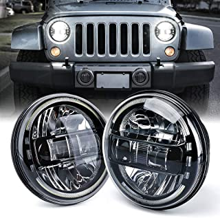 Xprite 7 Inch CREE LED Headlights DOT Approved for 1997-2018 Jeep Wrangler JK LJ CJ TJ Hummber H1 H2, with High/Low Beam, Halo DRL Round Headlamps