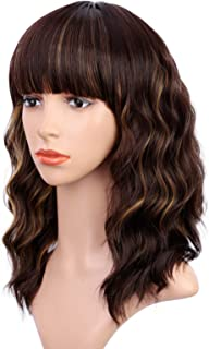 ENTRANCED STYLES Short Brown Wigs for Women Synthetic Wavy Bob Wig with Bangs Brown Mixed Blonde Highlights Color Natural ...