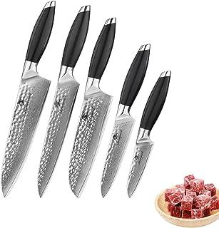 5pcs Cleaver Chef Couteau Ensemble 67 Couche Damascus Steel Utilitaire Chef Couteaux Ensemble Utilitaire Cuisine Découper ...