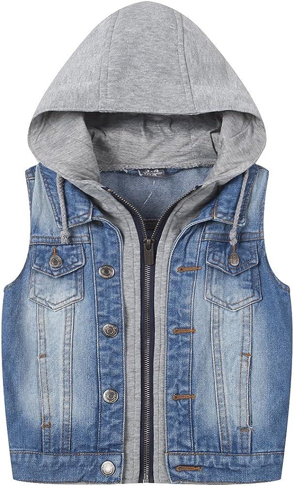 LISUEYNE Big Boys Distressed Denim Vest Ripped Hoodie Jean Outerwear Light Blue