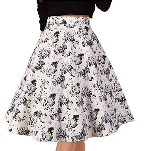 b87927ff9 Musever Women's Pleated Vintage Skirts Floral Print Casual Midi Skirt