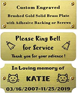 """Size: 4"""" W x 1-1/2"""" H, Personalized, Custom Engraved, Brushed Gold Solid Brass Plate Picture Frame Name Label Art Tag for Frames, with Adhesive Backing or Screws - Indoor use only"""