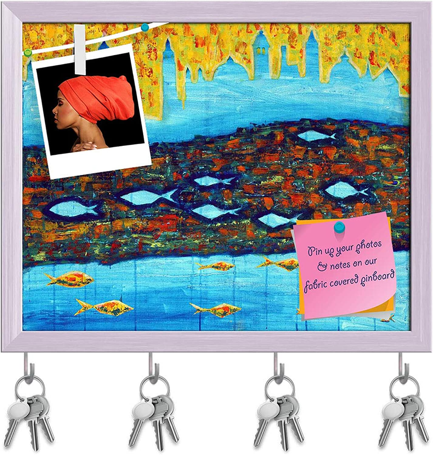 Artzfolio Abstract Artwork with bluee Towers & Fishes Key Holder Hooks   Notice Pin Board   White Frame 14.9 X 12Inch