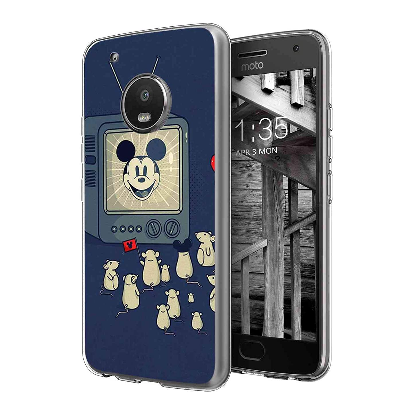 DISNEY COLLECTION Compatible Moto G5 Plus (5.5in) The mice are Watching Mickey Mouse on TV
