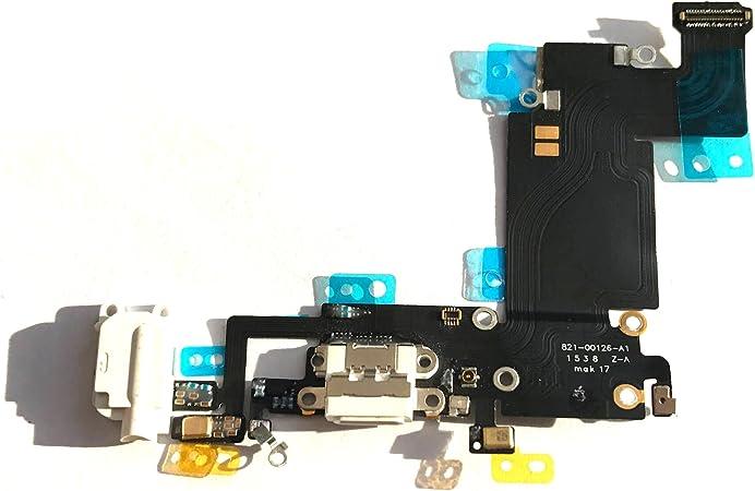Conector de Carga de Repuesto para iPhone 6s plus blanco/oro/oro rosa- Dock con Cable Flex, Altavoz, Antena, Micrófono y Conexión Botón