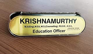 Creator Store Personalised Gold Base Color Double Side Office Table Top, Desktop Classic Plastic Name Plate (Size - 10X3 I...