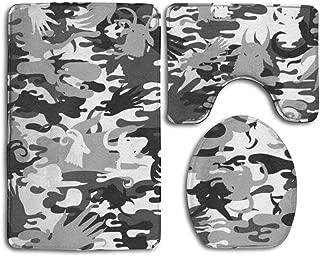 YINLAN U-Shaped Contour Rug + Lid Toilet Cover + Bath Rug 3 Piece Non Slip Bath Mat Set Memory Foam Water Absorbent Bathroom Carpet Animal Antelope Grey Camouflage Balck Camo
