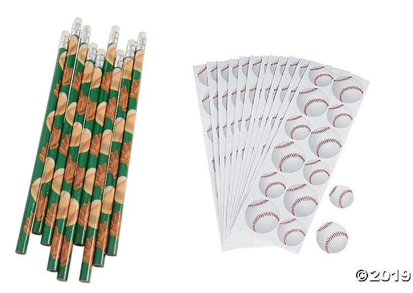 Baseball Party Favors ~ 1DZ (12) Baseball Pencils & 12 Baseball Sticker Sheets (144 Stickers) Party giveaway Goody bag Sports Theme