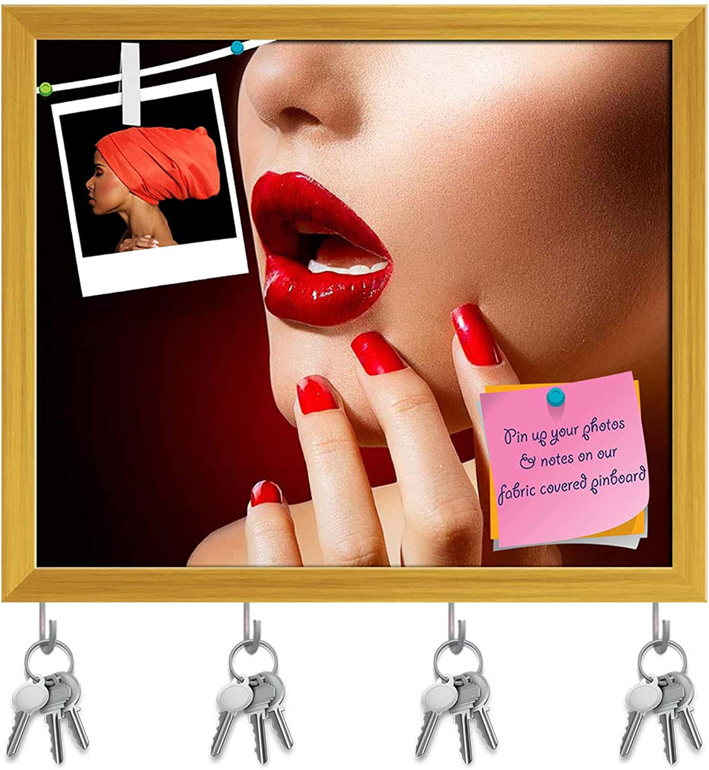Artzfolio Red Lips & Nails Key Holder Hooks   Notice Pin Board   golden Frame 19.1 X 16Inch
