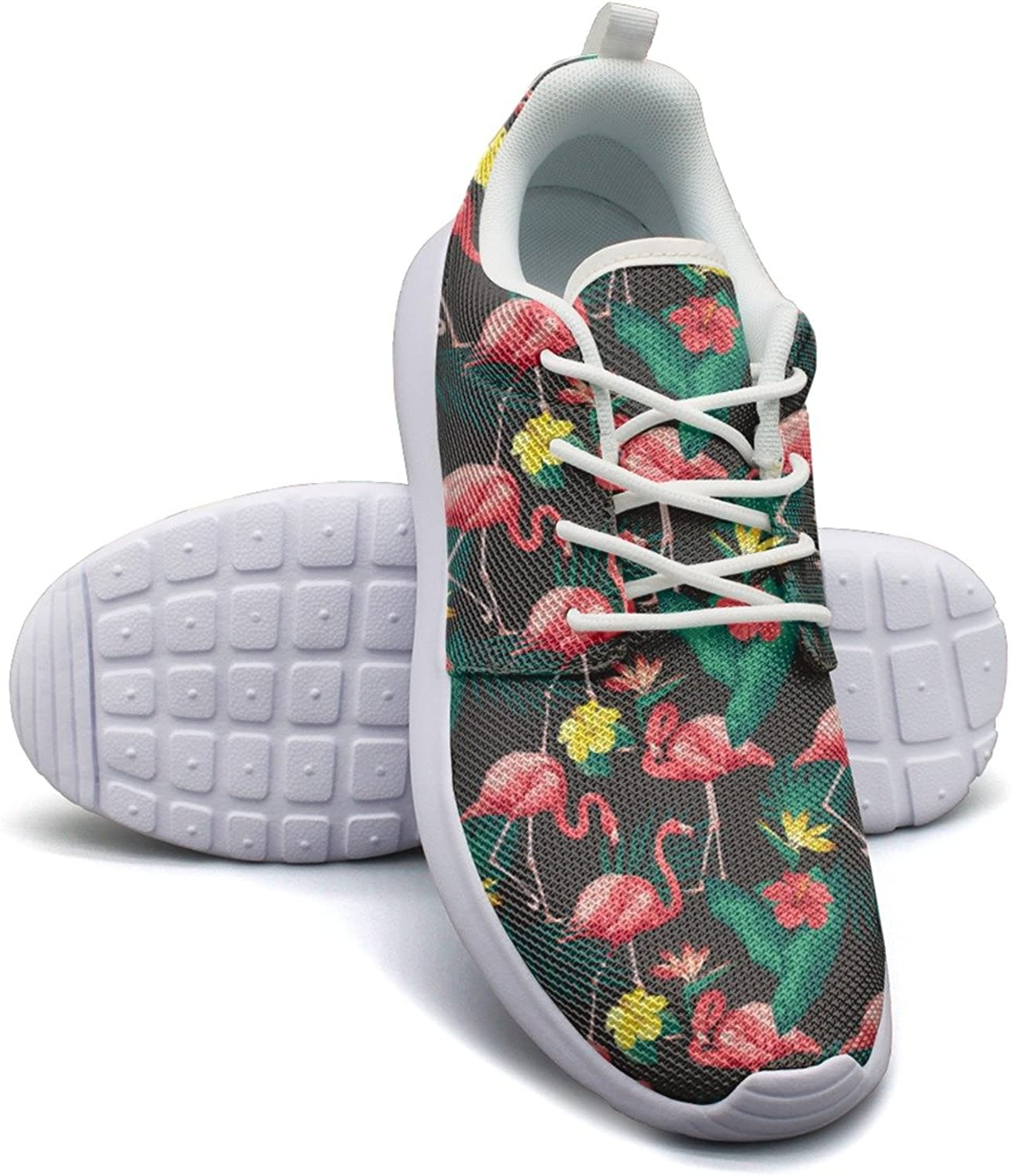 Gjsonmv Flamingo and Tropical Plants mesh Lightweight shoes for Women Dad Sports Track Sneakers shoes
