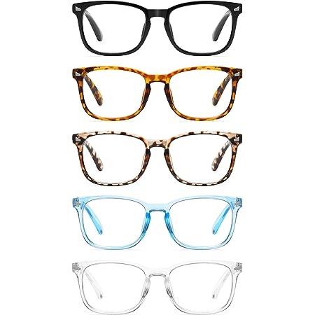 CCVOO 5 Pack Reading Glasses Blue Light Blocking, Filter UV Ray/Glare Computer Readers Fashion Nerd Eyeglasses Women/MenC1 Mix, 2.75)