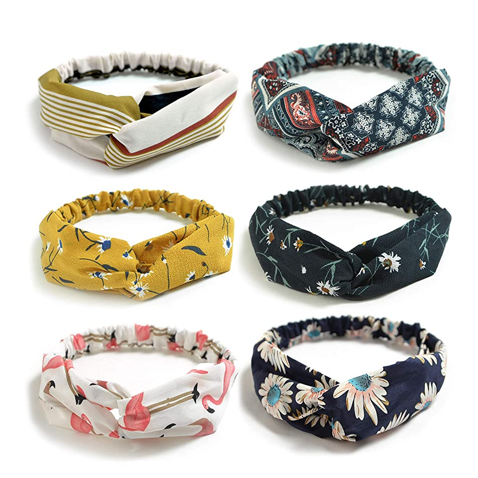 DRESHOW 6 Pack Womens Headbands for Work Non Slip Boho Headbands Vintage Flower Printed Criss Cross Elastic Head Wrap Twisted Cute Hair Accessories