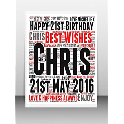 Personalised 21st Birthday Word Art Greeting Card Details Required PLEASE REFER TO IMAGE SECTION