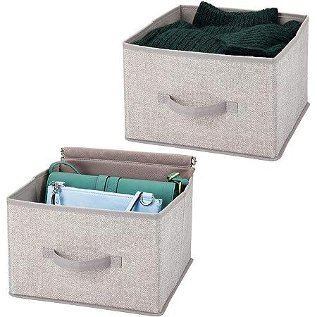 mDesign panier de rangement en tissu (lot de 2) – bac de stockage pratique pour rangement de penderie – corbeille de rangement pour vêtements, couvertures, accessoires et plus – gris clair