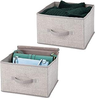 mDesign panier de rangement en tissu (lot de 2) – bac de stockage pratique pour rangement de penderie – corbeille de range...