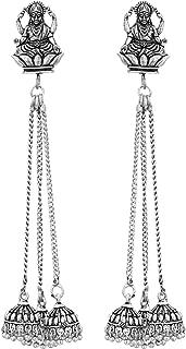 Jwellmart German Silver Buddha Laxmi Kashmiri Style Oxidized Drop Dangle Indian Earrings for Women and Girls