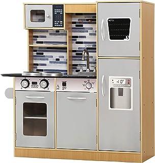 KEEZI Play Kitchen Kids Toys Kitchen Playset Wooden Pretend