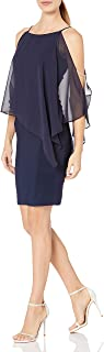 فستان قصير للنساء من Xscape مع طبقة من الشيفون مع زخرفة من الخرز