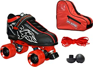 New! Customized Pacer Black ATA-600 Quad Roller Speed Skate 4pc. Bundle w/ Red Dart Wheels, Bag, Toe Plugs & Laces! (Mens 7)